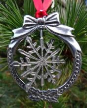 Pewter Christmas Spinning Snowflake Hanging Decoration